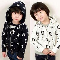 Free shipping 2014 new autumn outerwear girl boy unisex children jacket sport coat letter  design white black color