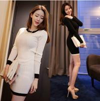 2014 autumn winter new fashion women sweater dress,100% cotton slim sheath long desigual knitting pullover dresses,vestido S-XXL