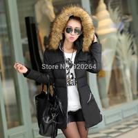 2014 Winter Women Parka Outerwear Duck Down Jacket With Large Fur Collar Plus Size L- XXXL Thickening Long Coat C-WJ1507