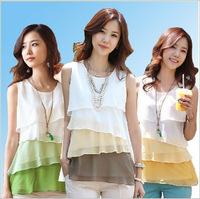 2015 summer women's fashion sleeveless chiffon mosaic multicolor level sweater vest shirt