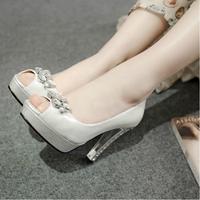 2014 Ladies Bridal Gold Silver Ivory Bling Rhinestone Pumps Crystal Prom Wedding Shoes For Women Platform Peep Toe High Heels