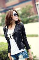 (CZ0809)2014 Fashion Women Jacket PU Zipper Coat Slim Short PU Jacket For Lady
