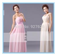 Free shipping Bridesmaid dress bridesmaid long design married the bride long design formal dress one shoulder dress chiffon