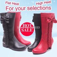 Hottest Genuine Leather Children High Heel Boots Girls Fashion Kids Princess Boots Autumn Winter  Plus Size 26~36