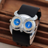 Personalized Owl Case Unisex Leather Strap Watches 50MM Big Men Women Crystals Wristwatch Dual Time Display Analog Clock NW1739