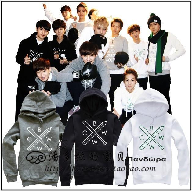 Мужская толстовка EXO /bwcw /, kpop мужская футболка kpop exo baekhyun chanyeol t camiseta