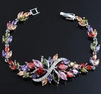 Popular Multicolor Stone AAA Cubic Zirconia Bracelet Bridal Wedding Dinner Party Jewelry For Women