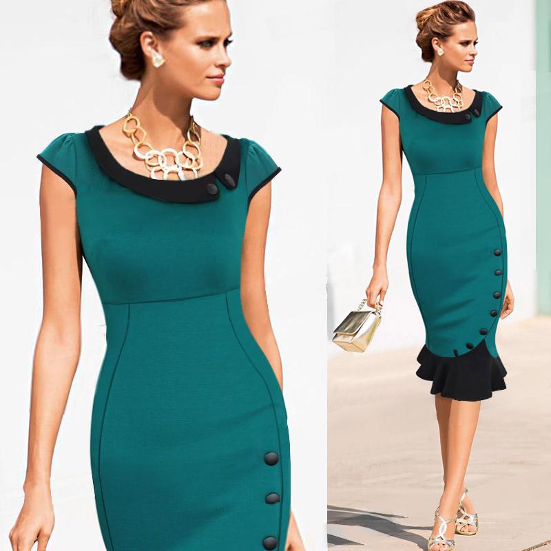 Wonderful Women Work Office Short Sleeve Summer Dress Lady Elegant Slim Dresses