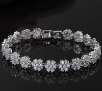 Popular Clear Stone AAA Cubic Zirconia Snow Flower Bracelet Bridal Wedding Dinner Party Jewelry For Women