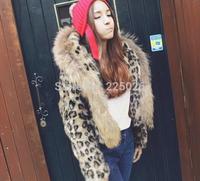 2014 New Autumn And Winter Women Fur Coat Black Large Fur Collar Long-Sleeve Artificial Mink Hair Short Outerwear Leopard Design