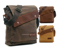 Free shipping  Army Style Vintage Genuine Leather Canvas Shoulder Bag Man/ Women /school_M213 message bag