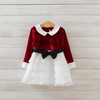 2014 New autumn,girls princess layered dress,children fashion velour dress,long sleeve,bow,3 colors,5 pcs/lot,wholesale,1848