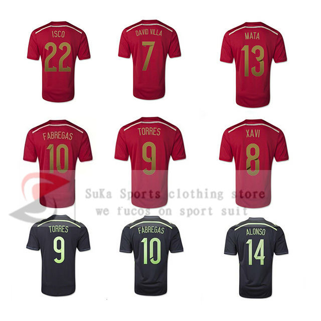 Spain 2014 world cup soccer jersey xavi isco a iniesta fabregas david