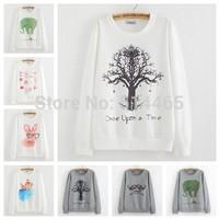 [Amy] 2014 new style fashion women Lovely big tree hoodies 3D cotton printing women's no fleece sweatshirt 27 model