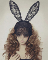 Free shipping Lace rabbit ear hairbands veil nightclub Halloween decoration Ball products headdress