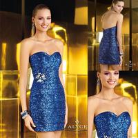 Sexy Royal Blue Heart Neck Mermaid Big Crystal Cocktail Dresses 2014 E116