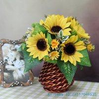 flower arrangement ikebana arranged artificial Sunflower include vase Home Decoration FV81