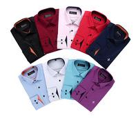 Spring 2014 Cotton Long Sleeve White Shirts Slim Fit Fashion Business Casual Dress shirt Dudalina Blue/white/black shirt 3XL