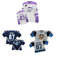 men/Women custom Pittsburgh Penguins Jersey #87 Sidney Crosby Jersey Authentic Road Throwback White/blue/Purple