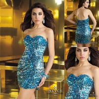 Blingbling Blue Sweetheart Heart Crystal Short Designer Cocktail Dresses Free Shipping E122