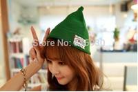 2014 Korean Mori girl Candy color patch pointed hat cap Autumn winter warm wool knitting edge hat Joker beanie hats
