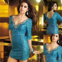 Sexy Blue V-neck Half Sleeve Mini Cocktail Dresses 2014 E121