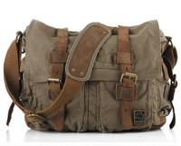 Vintage New 2014 fashion Real leather + military canvas shoulder bag Men leather canvas messenger bag for men Leisure bag Size M