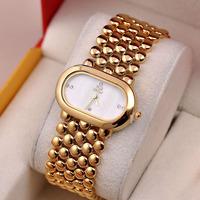 Fashion European Style Women Gold Bracelet Watches Quartz Vogue Girls Party Dress Wide Bangle Clock Shell Relojes 1ATM NW1758