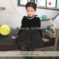 amber berry 4924 Korean brand children's clothing for girls velvet dress warm autumn and winter