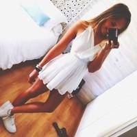 2014 Summer New Fashion White Dress Cute Flowy Dress V-neck Dress Loose Dress kylie jenner