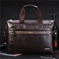2014 Free Shipping PU Leather Brown Handbags Casual Fashion Business Men Messenger bag Big Capacity Shoulder Bag BG042