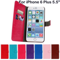 Crazy Horse Grain PU Leather Wallet Style Cases For iPhone 6 Plus 5.5 inch With Stand Phone Bags 2 Style Card Holder New 2014