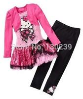 Retail 2014 Kids Clothes Sets Fashion Autumn 2pcs Sets Skirt Suit Hello Kitty Baby Girls Dresses Clothing Sets Shirt +Pants