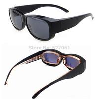 Unisex Super Black Frame Polarized Sunglasses cover/ put/ wear over prescription Glasses - fit Driving Outdoor Sports-New