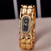 Luxury Gold Plated Bracelet Watch Quartz Women Wide Bangle Wristwatch Blingbling Crystals Dress Clock Waterproof Relojes NW1767