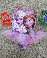 Retail Frozen children swimwear  Summer New Elsa & Anna fashion swimsuit for baby girls free shipping