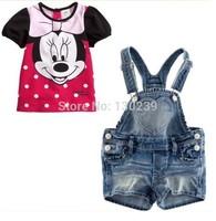 new summer Children girls kids Clothing clothes Sets suits 2 pcs girl's cartoon Minnie condole belt cowboy suit +Overalls suit