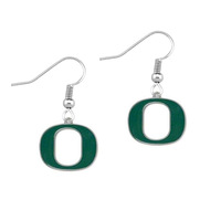 Free shipping 50pair a lot rhodium plated enamel NCAA University of Oregon Dukes team logo sports earring(E108400)