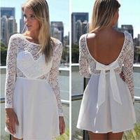 2014 New women Love long-sleeved lace dresses bow  halter party dress vestido de festa renda white red blue black