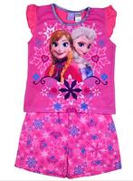 Free shipping Frozen anna and elsa summer short sleeve sleeved pajamas pyjamas pjs sleepwear set