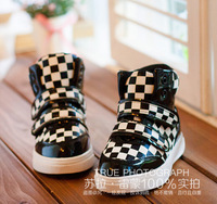 free shipping new style children Fashion Patent leather shoes casual shoes plaid baby casual shoes