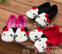 free shipping new style children Fashion Cute cat cartoon princess shoes plus velvet baby Princess Shoes