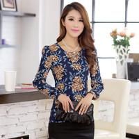 2014 New Fashion Women's Clothing Quality Retro Print Chiffon Shirt Slim Round Neck Long-Sleeved T-Shirt Women