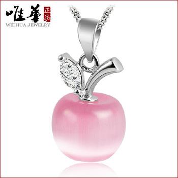 Apple опал ожерелье серебро ювелирные изделия серебро лунный камень кулон смешанный ...