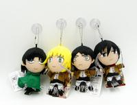 2014 Attack On Titan Plush Toy 4PCS/Set 12CM Cute Mikasa/Eren/Levi/Armin Soft Stuffed KeyChain Doll High Quality  Free Shipping