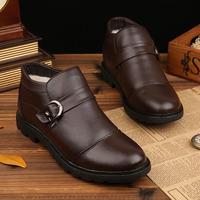 2014 winter men plus velvet high-top cowhide Casual Leather Shoes size 38 ~ 44