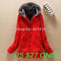 New 2014 autumn and winter berber fleece thickening women's winter jacket hooded cotton-padded jacket zipper winter coat women