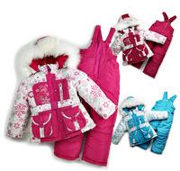 Winter thickened Ski Suit Girls Mianfu suit real fur collar snow child cotton 3 set