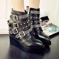 Famous brand women boots genuine leather designer rivets wedges ladies winter shoes