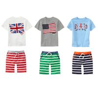 551 Summer fashion Children's clothing sets brand fashion Baby Boy suits sets GB USA flag short-sleeve T-shirts+stripe pants